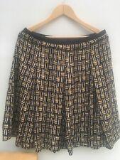 Jigsaw silken look box pleat skirt cross hatch pattern black yellow white UK 14