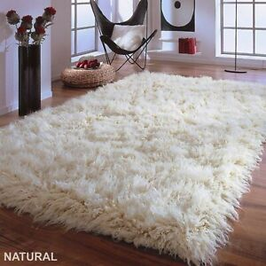 "STUNNING NATURAL FLOKATI RUG-AMAZING 4.5"" WOOL FUR PILE-HAND MADE ORGANIC CARPET"