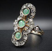 Vintage 18K Yellow Gold Emerald Mine Cut Diamond Statement Ring RG950