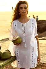 Strandkleid Kleid Gr. M im Boho Hippie Style in weiß mit Lochmuster und Kordel