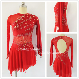 Red Ice Figure Skating Dresses Custom Sparkle Competition Skating Dress W097