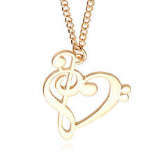 New Love Heart Treble Clef Music Note Elegant Silver Plated Pendant Necklace 7N