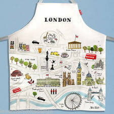"""Alice Tait """"Map of London""""  Apron 100% Cotton Cream with Light Blue Ties"""