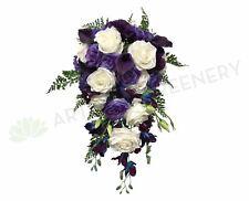 NEW Artificial Flowers/Plants Teardrop Bouquet - White / Purple - Ashlee