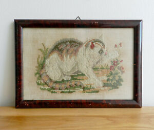 Vintage / Antique framed Cat needlepoint cross stitch picture