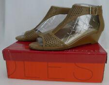 Aerosoles Sapphire Wedge Sandal Dark Tan Leather Size 11 Ankle Strap Back Zipper
