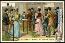 Placing A Bet At The Horse Race Le Pari Mutuet c1910 TradeAd Card
