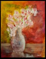 """Original Expressive 11x14"""" Thick Loose Floral StillLife Painting vase of flowers"""