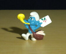 Smurfs Christmas Card Mailman Smurf Postman Holly Figure Vintage Toy PVC 20031