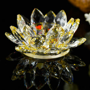 Yellow/Gold Crystal Glass Lotus Flower Candle Tea Light Holder Candle stick Deco