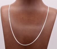 2mm Diamond Cut Bismark Bizmark Chain Necklace Real Sterling Silver 925 Italy
