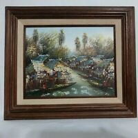 Unsigned Thailand Southeast Asia Canal Oil Painting Framed Vintage Village Scene