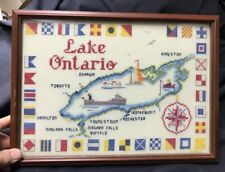 Vintage Lake Ontario, Canada - Framed Needlepoint -very well-made nicely framed