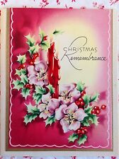 Vintage 1940s UNUSED Christmas Greeting Card Christmas Roses, Candles, & Holly