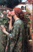 Nice Oil painting Waterhouse - The soul of the rose nice lady in spring 36""