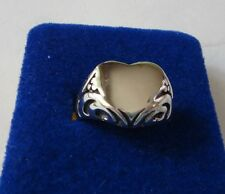 size 5 Clearance Priced Sterling Silver 4-5 gram 14mm wide Fancy Heart Band Ring