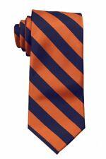Orange and Navy Collegiate Striped Men's Tie Necktie Schools Business Ties