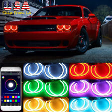 4Pcs Cotton RGB Angel Eye Halo Ring Phone Control for Dodge Challenger 2008-2014