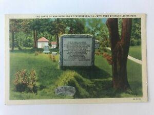 Postcard IL Petersburg Ann Rutledge Grave Edgar Lee Masters Poem
