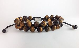 Men's Tiger Eye Gemstone Beads Two-Row Silver Beaded Shambhala Jewelry Bracelet