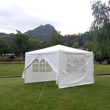 10'x 10' Canopy Party Wedding Tent White Gazebo Pavilion w/4 Side Walls
