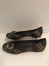 Tory Burch 7M Satin Fabric/Leather/Gold Buckle Ballet Flats Brown/Navy/GOLD, EUC
