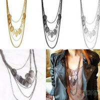 EE_ Women Multi-layer Necklace Bohemia Leaf Pendant Long Sweater Chain Charming