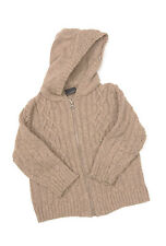 P393/11 Next Boy's Chunky Cable Knit Beige Jacket Hooded Cardgan, age 2-3, 98 cm