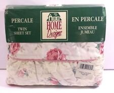 Vintage Percale Twin Sheet Set Floral Roses Pillow Cover Made in the USA New in