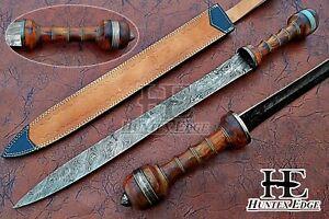 HUNTEX NEW Custom Handmade Damascus 690mm Long Rosewood Handle Gladiator's Sword