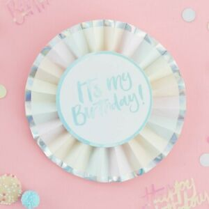 It's My Birthday BADGE Iridescent Large Happy Day Celebration Party Paper Pastel