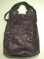 Huge LUCKY BRAND GENUINE LEATHER Purple HOBO SHOULDER BAG HANDBAG PURSE