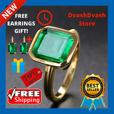 Vintage Natural Emerald Ring + Earring 18K Yellow Gold Women Wedding Jewelry Gem