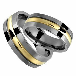 Titanium 14k Yellow Gold Wedding Band Set 7mm Wide Comfort Fit Polished Ring