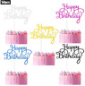 50 pcs Happy Birthday Cake Toppers, Birthday Gold Cupcake Topper Acrylic