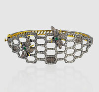Natural Diamond & Emerald 18k Gold & 925 Sterling Silver Bangle Bracelet Jewelry