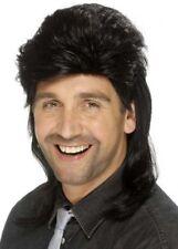Mens 70's Black Mullet Wig