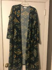 NWT - LuLaRoe Sarah Duster Navy with blue, green, yellow, red Aztec design - L