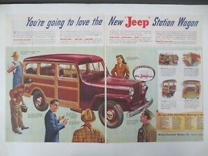 Vintage advertising 1946 ad WILLYS JEEP STATION WAGON car vehicle art