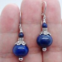 Women Beautiful Handmade Bold Blue Lapis Lazuli Silver Fashion Earrings 6-12mm