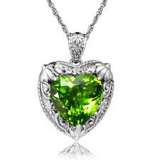 Handmade Vintage Art Deco 925 Silver Heart Lab Gem Green Olivine Pendant Peridot