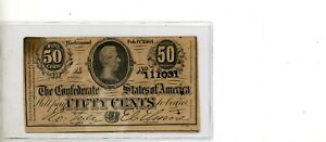 1864 Confederate States of America Fifty Cent Note Feb 17th 1864 # 111031