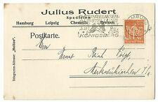 """DR Infla HAMBURG Postkarte Julius Rudert Firmenlochung Perfin """"J.R."""" 1922 R!"""