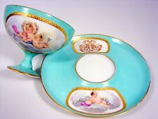 Superbe tasse et sa sous tasse porcelaine Paris 19 siècle Decor Peint Cherubins
