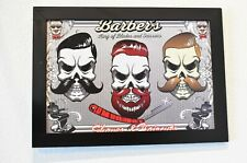 Barbers Skeletons Kings of Blades and Scissors 11 x 16 Print with Wood Frame