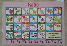 K-N Girls Names Personalised DryWipe Alphabet Writing Table Plate Place Mat Ruby