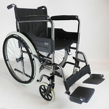 Lightweight Self Propelled Folding Wheelchair Puncture Proof Tyres Footrests Grey