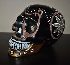 NEW Christofer RADKO Day of the Dead SKULL BLACK w/ GOLD GLITTER PLAQUE