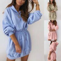 Womens Hooded Pullover Long Sweatshirt Autumn Long Sleeve Casual Pocket Blouse