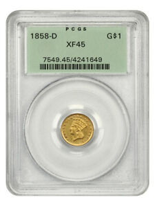 1858-D G$1 PCGS XF45 (OGH) Old Green Label Holder - 1 Gold Coin